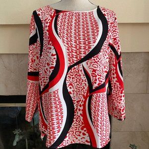 Ellen Tracy Graphic Print Red Black 3/4 Sleeve